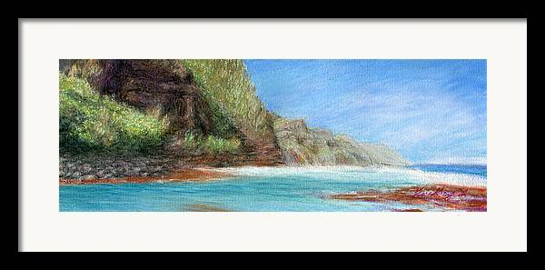Rainbow Colors Pastel Framed Print featuring the painting Na Pali by Kenneth Grzesik