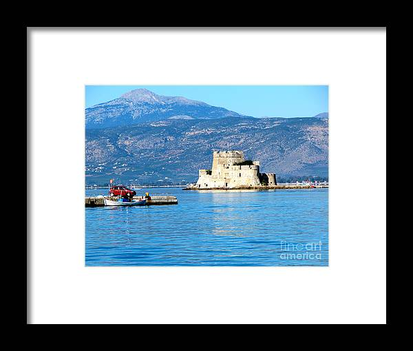 A Harbor Fortress Framed Print featuring the photograph Naflion Greece Harbor Fortress by Phyllis Kaltenbach
