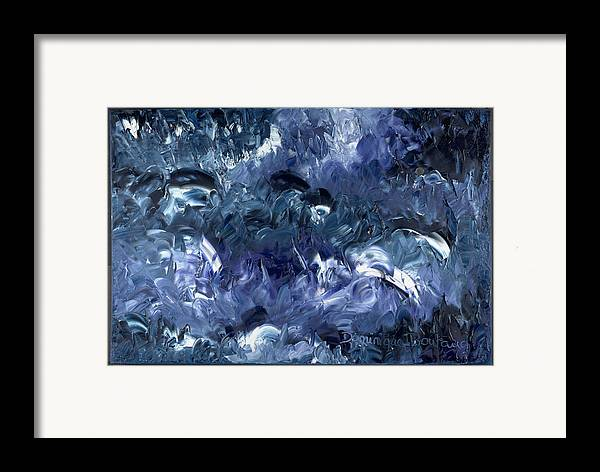 Abstract Framed Print featuring the painting Nage Avec Les Dauphins by Dominique Boutaud