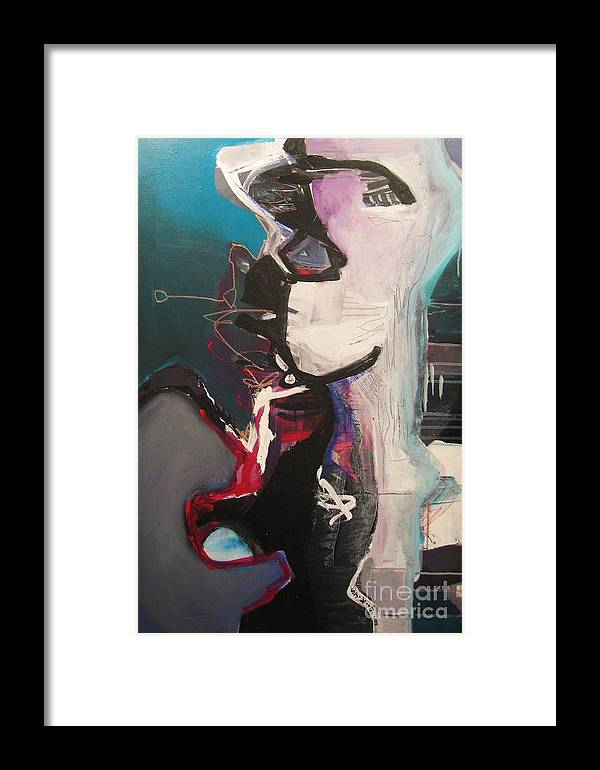 Abstract Art Paintings Framed Print featuring the painting Nagging Voice by Seon-Jeong Kim