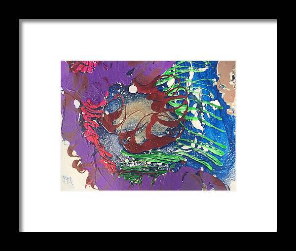 Nail Polish Abstract On Canvas Framed Print featuring the painting Nail Polish Abstract 15-s11 by Virginia Margarita