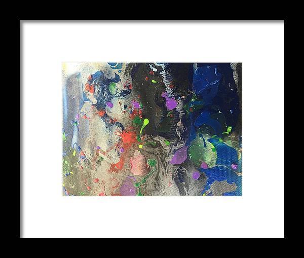 Nail Polish Abstract On Canvas Framed Print featuring the painting Nail Polish Abstract 15-w11 by Virginia Margarita