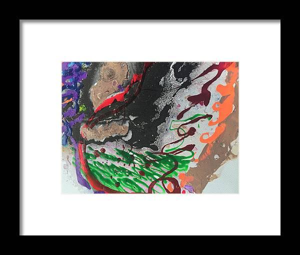 Nail Polish Abstract On Canvas Framed Print featuring the painting Nail Polish Abstract 15-z11 by Virginia Margarita