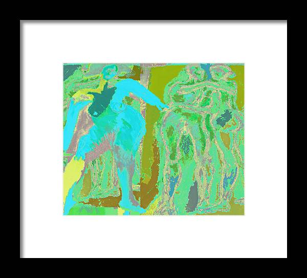 Nude Framed Print featuring the mixed media Naked Dance by Noredin morgan