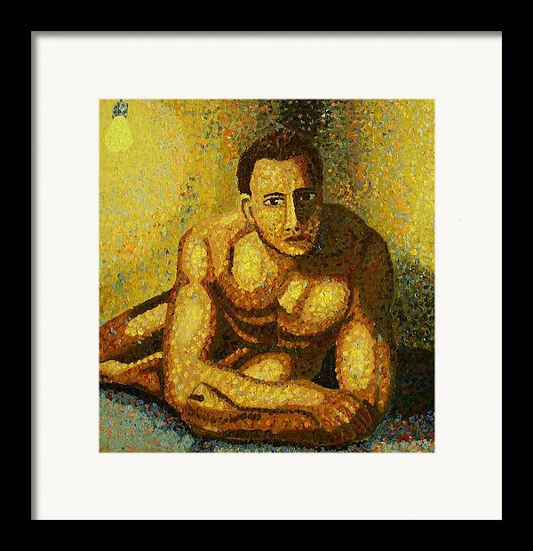 Nude Framed Print featuring the painting Naked by Mats Eriksson