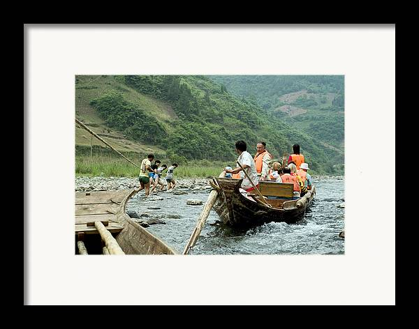 Boats Framed Print featuring the photograph Naked Tracker Boatman Pulling Tourists by Charles Ridgway
