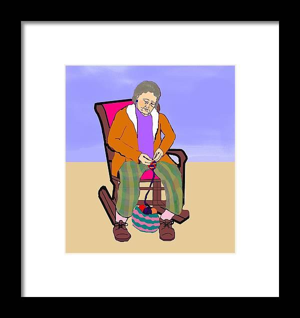 Grandmother Framed Print featuring the digital art Nana Knitting by Pharris Art