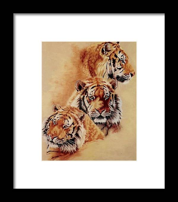 Tiger Framed Print featuring the pastel Nanook by Barbara Keith