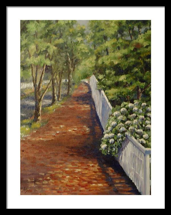 Nantucket Framed Print featuring the painting Nantucket Fence Number Three by Andrea Birdsey Kelly