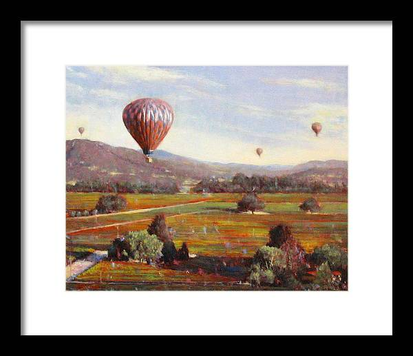 Wine Contry Framed Print featuring the painting Napa Balloon Autumn Ride by Takayuki Harada