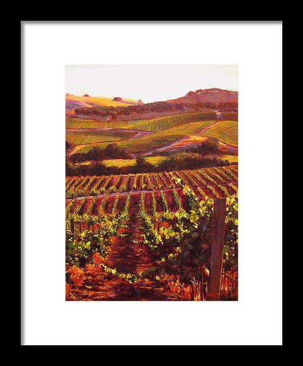 Wine Painting Framed Print featuring the painting Napa Carneros Summer Evening Light by Takayuki Harada