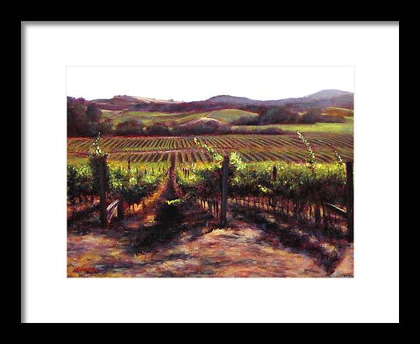 Wine Painting Framed Print featuring the painting Napa Carneros Summer Light by Takayuki Harada