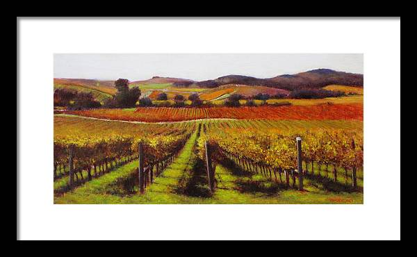 Wine Painting Framed Print featuring the painting Napa Carneros Vineyard Autumn Color by Takayuki Harada