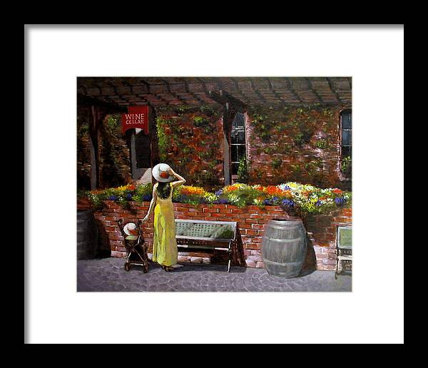 Landscape Framed Print featuring the painting Napa Wine Cellar In Spring by Takayuki Harada