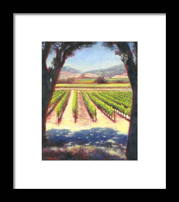 Wine Country Framed Print featuring the painting Napa Wine Vineyard Summer by Takayuki Harada