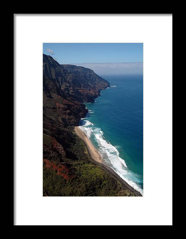 Hawaii Framed Print featuring the photograph Napali Cliffs by Kathy Schumann