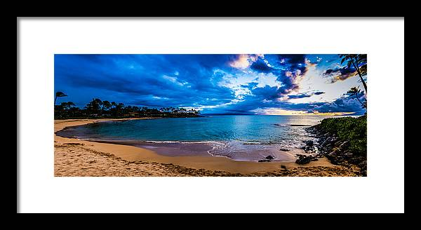Beach Sunset Framed Print featuring the photograph Napili Bay Sunset Panorama by Dave Fish
