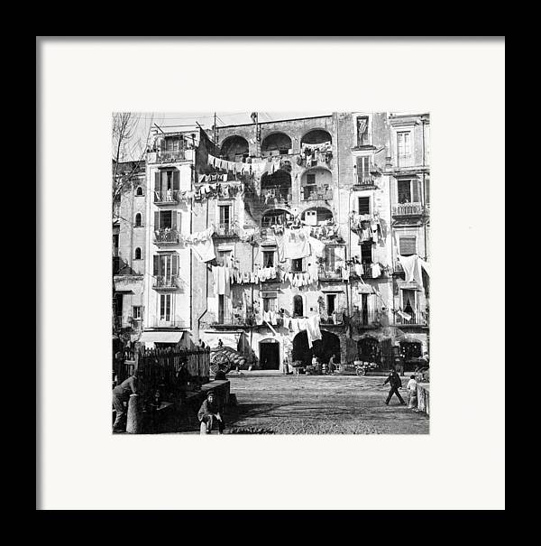 naples Italy Framed Print featuring the photograph Naples Italy - C 1901 by International Images