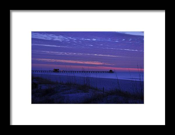Pier Framed Print featuring the photograph Naples Pier in a Purple Sunset by Christine Stonebridge