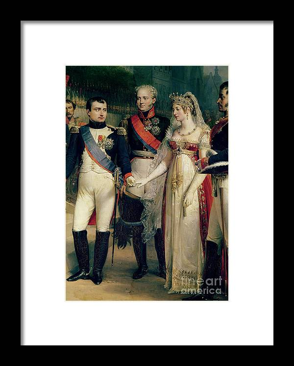 Napoleon Framed Print featuring the painting Napoleon Bonaparte Receiving Queen Louisa Of Prussia by Nicolas Louis Francois Gosse