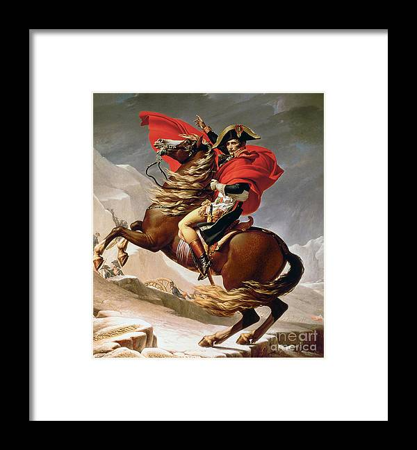 Bonaparte; Mounted; Portrait; Horse; Horseback; Male; Marengo; Rearing; Napoleon I; 1769-1821 Framed Print featuring the painting Napoleon Crossing The Alps by Jacques Louis David