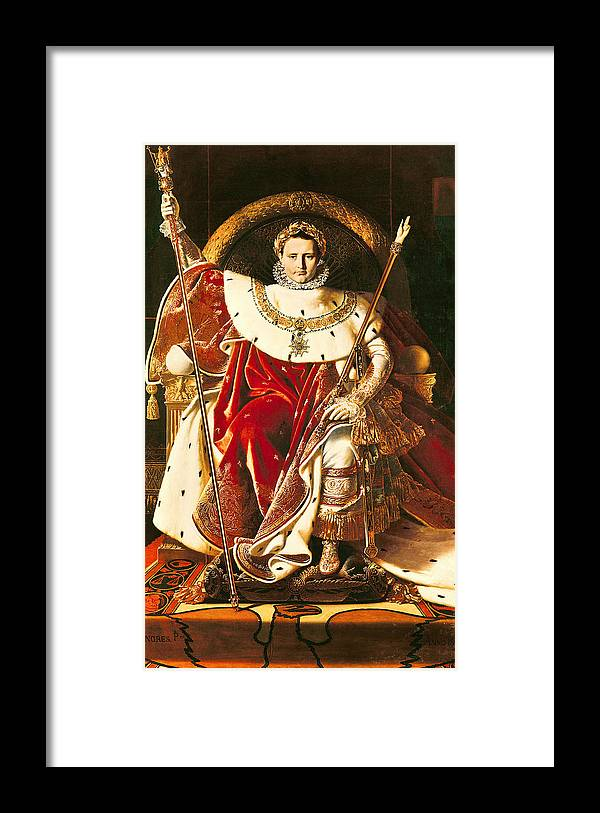 Napoleon Framed Print featuring the painting Napoleon I On The Imperial Throne by Ingres