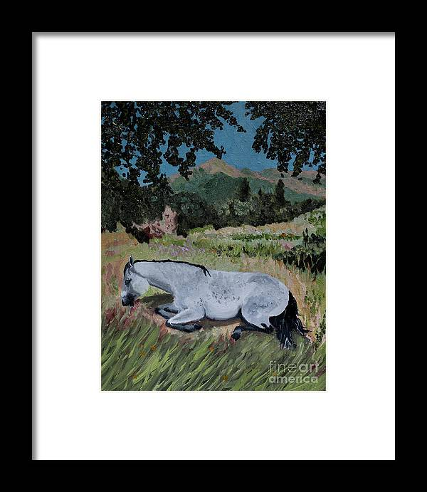 Landscape Framed Print featuring the painting Napping Horse by Jackie MacNair