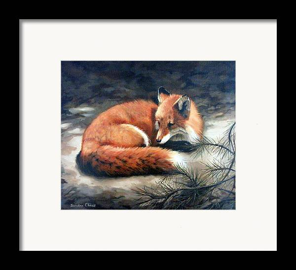Red Fox Framed Print featuring the painting Naptime In The Pine Barrens by Sandra Chase