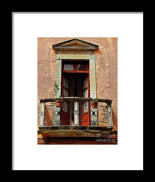 Darian Day Framed Print featuring the photograph Narrow Red Window by Mexicolors Art Photography