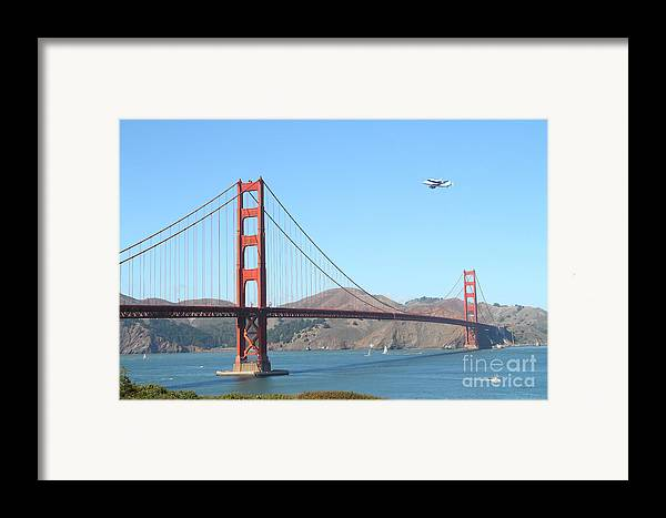 San Francisco Framed Print featuring the photograph Nasa Space Shuttle's Final Hurrah Over The San Francisco Golden Gate Bridge by Wingsdomain Art and Photography