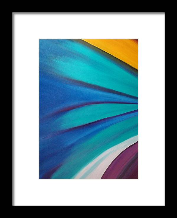 Abstract Car Speed Racers View-blue -yellow-nascar- Painting-oilpaintings-landscape-places Framed Print featuring the painting Nascar At 200mph by Stephen Ponting