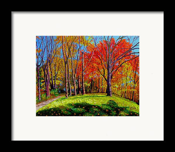 Trees Autumn Hill Grass Sunshine Shadows Sky Colors Path Framed Print featuring the painting Nashville North by Stan Hamilton