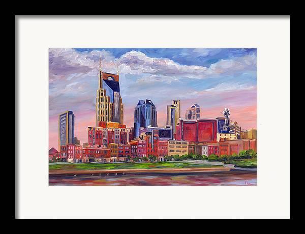Nashville Skyline Framed Print featuring the painting Nashville Skyline Painting by Jeff Pittman