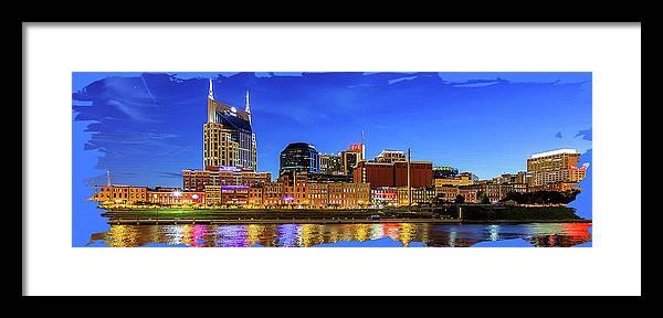 Framed Print featuring the digital art Nashville Skyline by Rod Jellison