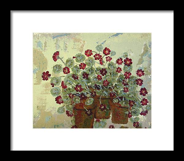 Flower Framed Print featuring the painting Nasturtiums by Gaye Heidinger