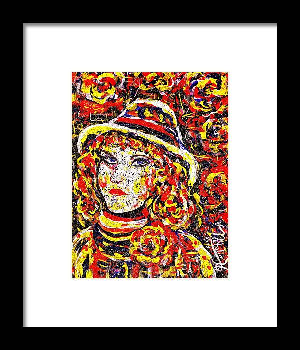 Woman Framed Print featuring the painting Nat With The Hat by Natalie Holland