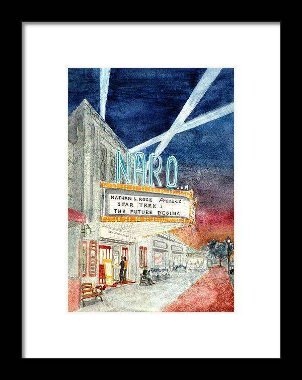 Movie Framed Print featuring the painting Nathan And Rose Present... by Vic Delnore