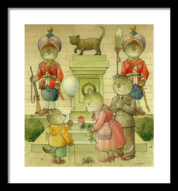 Cat Animals Monument Patriotism Bengal Soldier Framed Print featuring the painting National Monument by Kestutis Kasparavicius