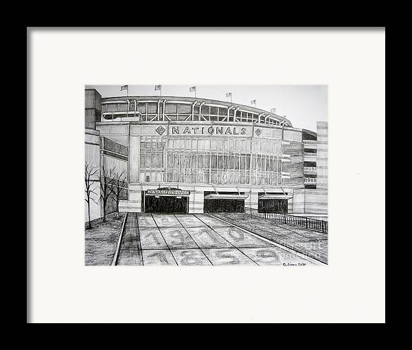 Nationals Park Framed Print featuring the drawing Nationals Park by Juliana Dube