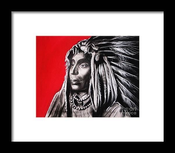 Indian Framed Print featuring the painting Native American by Anastasis Anastasi