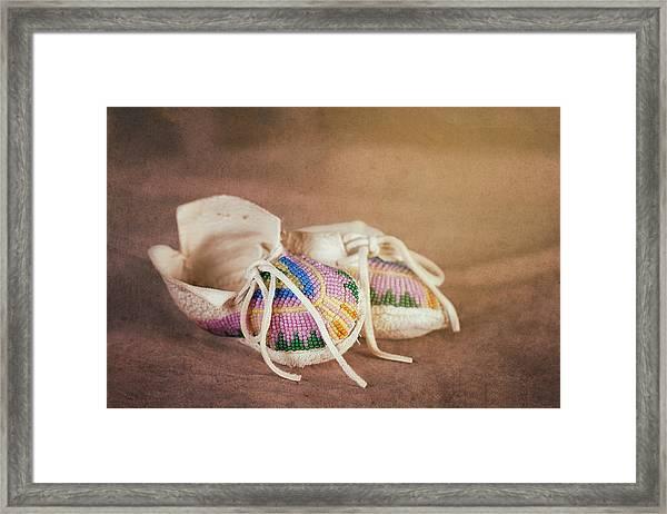 Native American Baby Shoes Framed Print By Tom Mc Nemar
