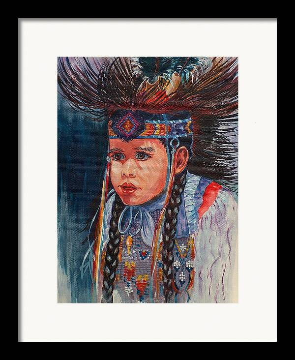 Native American Framed Print featuring the painting Native American Dance by Sylvia Stone