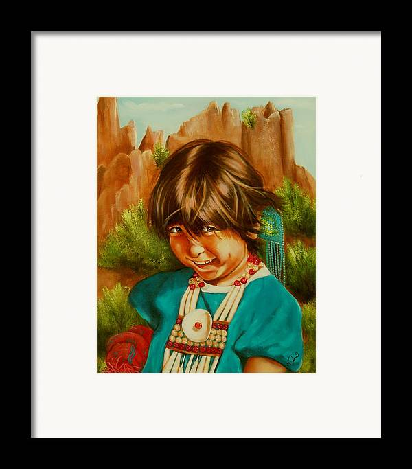 Portrait Framed Print featuring the painting Native American Girl by Joni McPherson