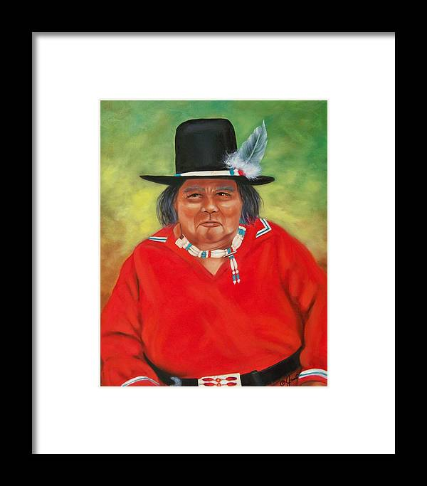 Oil Painting Framed Print featuring the painting Native American by Joni McPherson