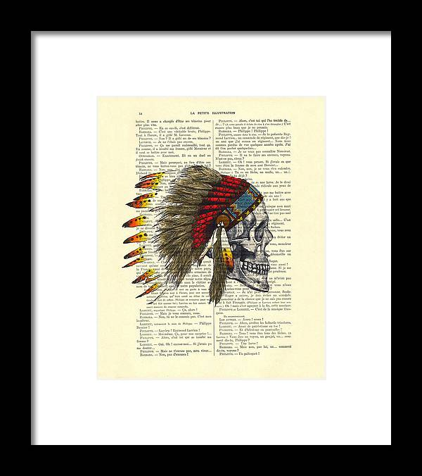 Native American Framed Print featuring the digital art Native American Skull by Madame Memento