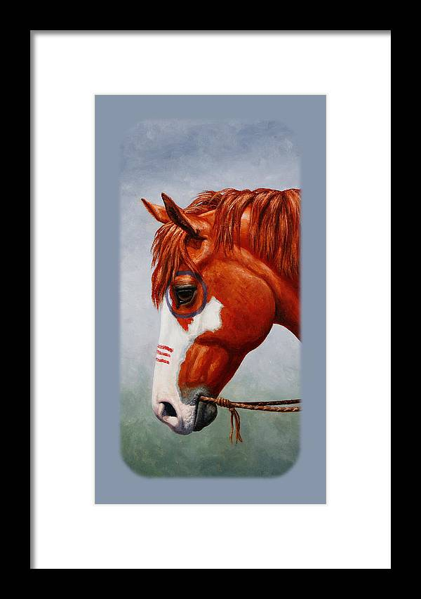 Native American War Horse Phone Case Framed Print by Crista Forest
