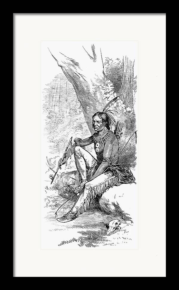 1876 Framed Print featuring the photograph Native American With Pipe by Granger