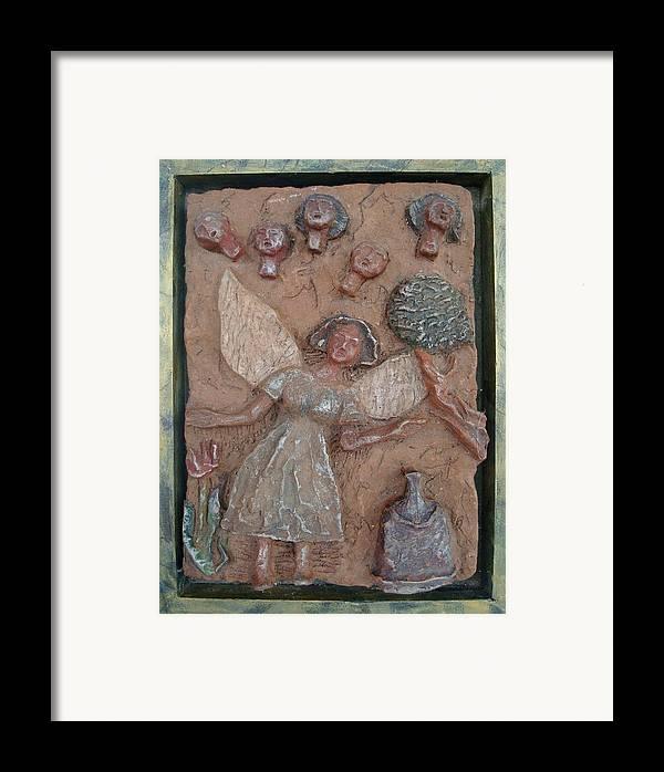 Clay Framed Print featuring the relief Natividad 1 by Lorna Diwata Fernandez