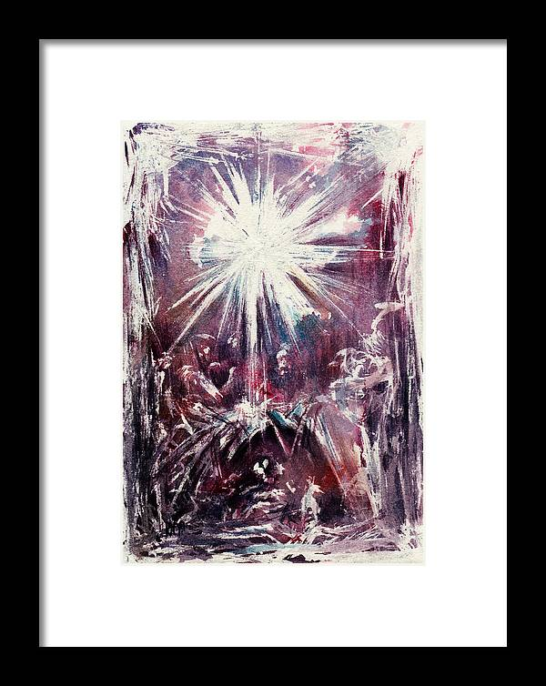 Nativity Framed Print featuring the painting Nativity 1 by Rachel Christine Nowicki