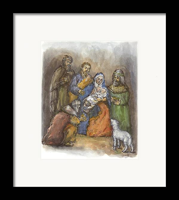 Nativity Framed Print featuring the painting Nativity by Walter Lynn Mosley